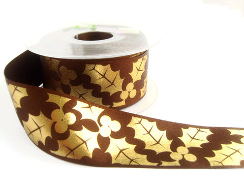 R6072 36mm Brown Satin Ribbon with a Metallic Gold Holly Print