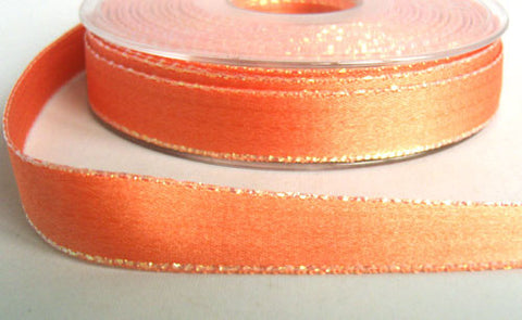 R6086 15mm Deep Apricot Double Faced Satin Ribbon, Metallic Edge - Ribbonmoon