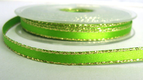 R6090 7mm Meadow Green Double Faced Satin Ribbon, Metallic Gold Edge - Ribbonmoon