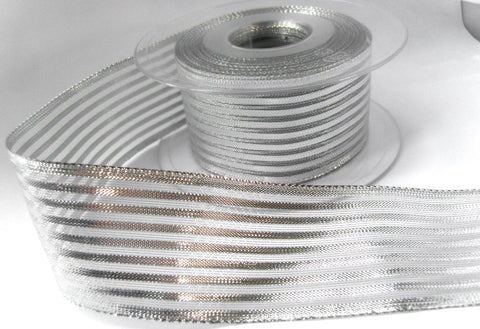 R6144 40mm Metallic Silver Solid and Mesh Striped Ribbon By Berisfords
