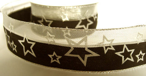 R6165C 40mm Black and Metallic Mesh Ribbon with a Silver Star Print - Ribbonmoon
