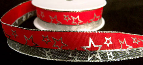 R6171 26mm Red and Metallic Mesh Ribbon with a Silver Star Print. Wire Edge - Ribbonmoon