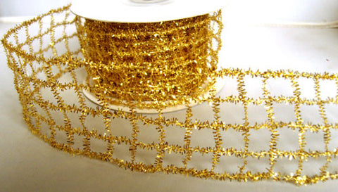R6179 50mm Gold Tinsel Mesh Wired Ribbon - Ribbonmoon