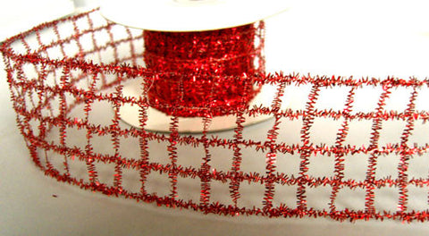 "R6180 50mm Scaret Berry Red ""Tinsel Mesh"" Wired Ribbon - Ribbonmoon"