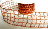 "R6181 50mm Copper ""Tinsel Mesh"" Wired Ribbon - Ribbonmoon"