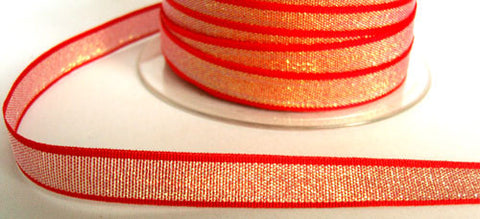 "R6225 11mm Red and Silver Iridescent ""Metallic Dazzle"" Weave Ribbon - Ribbonmoon"