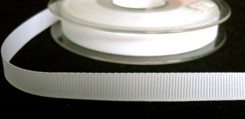 R6241 10mm White Polyester Grosgrain Ribbon by Berisfords - Ribbonmoon