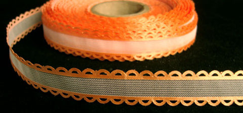 R6324 16mm White Tulle Ribbon with Pale Orange Acetate Borders - Ribbonmoon