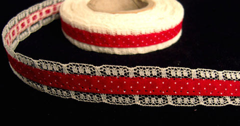 R6336 17mm Deep Red Cotton Ribbon over an Ivory Lace - Ribbonmoon