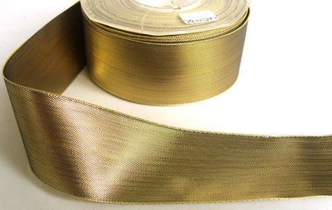 R6351 39mm Metallic Gold and Navy Polyester Shot Weave Ribbon - Ribbonmoon
