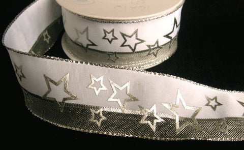 R6360C 40mm White and Metallic Mesh Ribbon with a Silver Star Print. Wire Edge - Ribbonmoon