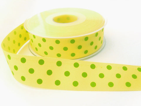 R6592 25mm Lemon, Green Polka Polyester Grosgrain Ribbon by Berisfords
