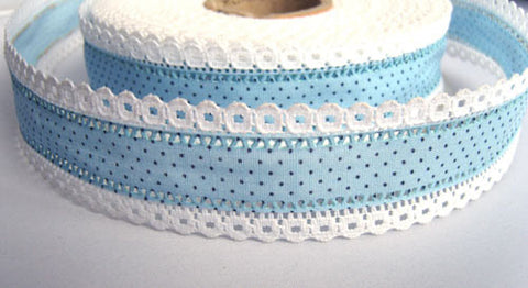 R6725 35mm Blue Cotton Polka Dot Ribbon with White Linen Lace Edges - Ribbonmoon