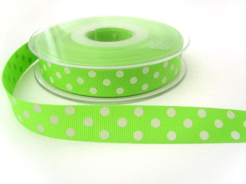 R6960 16mm Spring Green and White Polka Polyester Grosgrain Ribbon by Berisfords