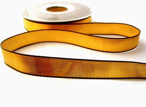 R6971 16mm Metallic Gold Lurex Ribbon with Black Woven Borders