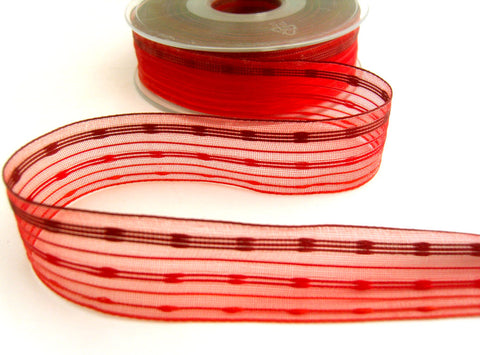 R7039 25mm Reds,Orange,Burgundy Sheer Ribbon with Woven Silk Stripes