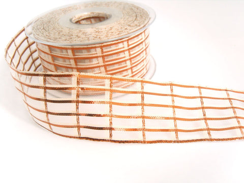 R7072 40mm Cream and Metallic Copper Sheer Check Ribbon