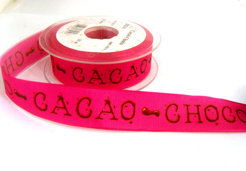 "R7330 26mm ""CACAO CHOCO"" Design Ribbon by Berisfords with Wire Edges"