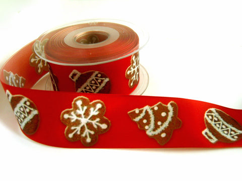 R7338 40mm Russet and Brown Christmas Print Ribbon, Wire Edge