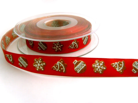 R7340 16mm Russet and Brown Christmas Print Ribbon, Wire Edge