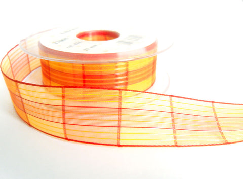 R7389 25mm Oranges and Yellow Silk and Sheer Check Ribbon