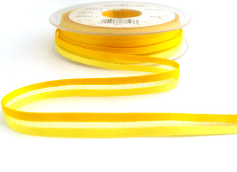 R7535 10mm Yellows Satin and Sheer Striped Ribbon by Berisfords