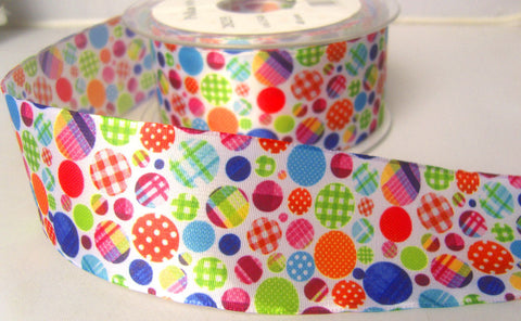 R7850 40mm Mixed Colour Spotty Design Taffeta Ribbon - Ribbonmoon