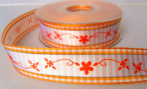 R7879 25mm Orange and White Flowery and Gingham Ribbon - Ribbonmoon