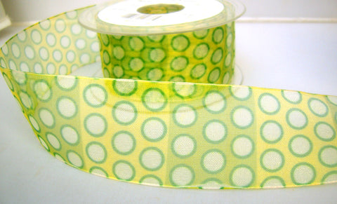 R7883 42mm Green, Yellow and White Sheer Ribbon, Spotty Design - Ribbonmoon