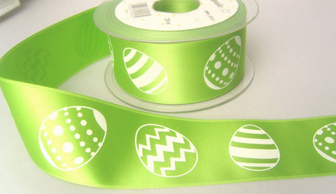 R7890 40mm Green Satin Ribbon with a Single Side Easter Egg Design