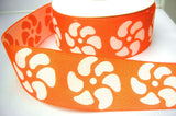 R7939 50mm Orange and White Thick Woven Cotton Ribbon Tape, Reversable Design - Ribbonmoon