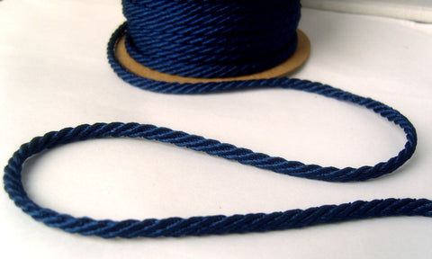 C405 5mm Royal Navy Barley Twist Woven Polyester Cord By Berisfords