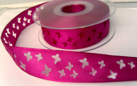 R8218 25mm Deep Fuchsia Pink Taffeta Ribbon with Punched Butterfly Shapes