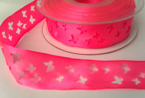 R8226 25mm Fluorescent Pink Taffeta Ribbon with Punched Butterfly Shapes