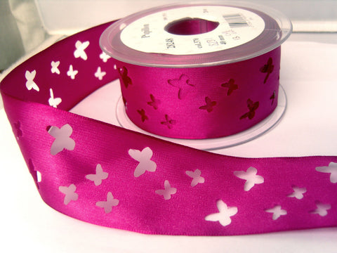 R8231 40mm Deep Fuchsia Pink Taffeta Ribbon with Punched Butterfly Shapes