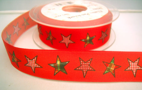 R8233 25mm Flame Red Taffeta Ribbon with a Gingham Star Print - Ribbonmoon