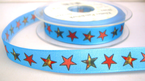 R8240 16mm Blue Taffeta Ribbon with a Gingham Star Print - Ribbonmoon