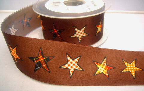 R8246 40mm Brown Taffeta Ribbon with a Gingham Star Print - Ribbonmoon