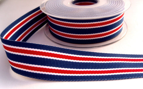 R8314 27mm Blue, Red and White Double Face Striped Grosgrain Ribbon - Ribbonmoon