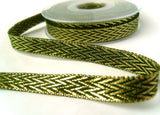 R8404 13mm Forest Green and Metallic Gold Double Face Ribbon