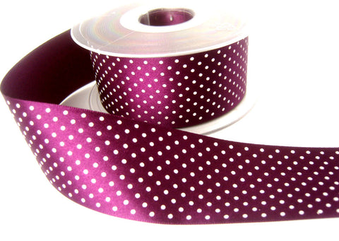 R8416 40mm Plum Double Face Satin Ribbon with a Polka Dot Print