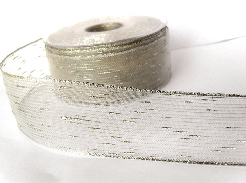 R8477 40mm Silver Metallic and Nylon Water Resistant Sheer Ribbon
