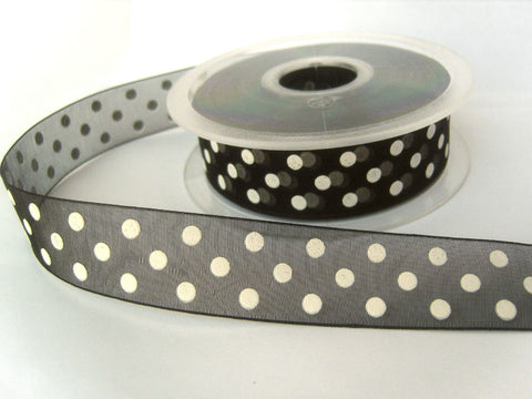 R8482 24mm Black Sheer Ribbon with a White Polka Dot Spotty Design