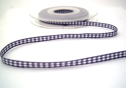 R8514 5mm Navy Polyester Gingham Ribbon by Berisfords