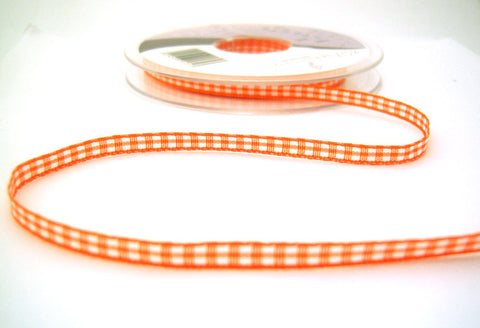 R8517 5mm Orange Polyester Gingham Ribbon by Berisfords