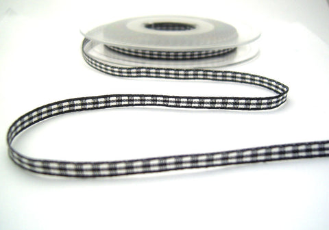 R8538 5mm Black Polyester Gingham Ribbon by Berisfords