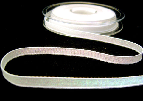 R8543 7mm White and Metallic Iridescent Dazzle Ribbon by Berisfords