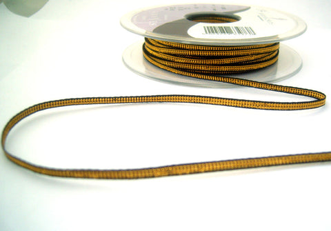 R8545 3mm Dark Gold Metallic Lame Ribbon with Black Edges by Berisfords