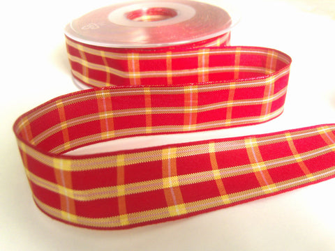R8641 25mm Scarlet Red Regal Tartan Check Ribbon by Berisfords