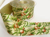 R8645 54mm Pale Gold Glitter Satin Ribbon with a Christmas Print